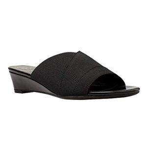 Nordstrom Blk Leather Stretchy Strap Wedge Sandals